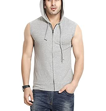 GRITSTONES Men's Hooded Cotton Zipper Jacket (GS60217JKTGMEL(1)_Grey_Medium)