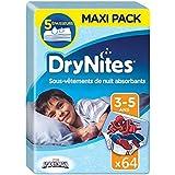 Huggies Drynites 3-5 ans Garçon (16-23 kg) - Sous-Vêtements de Nuit Absorbants pour Enfants qui Font Pipi au Lit - x64 Culottes (Lot de 4 Paquets de 16)