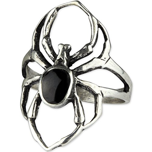Ring Spinne Gothic Black Spider 925er Sterling Silber mit Onyx (56 (17.8))