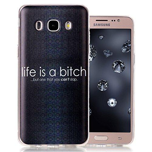 Preisvergleich Produktbild Silikonhülle für Samsung J5 (2016), Aeeque Ultradünn Weich Schwarz Weiß Spruch Muster Gel Flexibel Handy Schützt Hülle Tasche Slimcase Backcover für Samsung Galaxy J5 SM-J510 2016