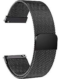 Fullmosa 14mm 16mm 18mm 19mm 20mm 22mm 24mm Bracelet Montre pour Homme/Femme, 6 Couleurs Smart Watch Bracelet Dégagement Rapide avec Fermeture Magnétique,20mm Noir