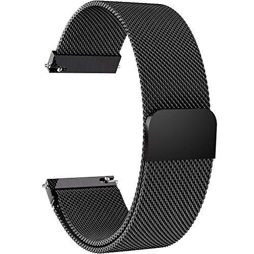 Fullmosa 14mm 16mm 18mm 19mm 20mm 22mm 24mm Watch Strap with Quick Release, 6 Colors Milanese Series Smart Watch Band for Man&Women 22mm Black