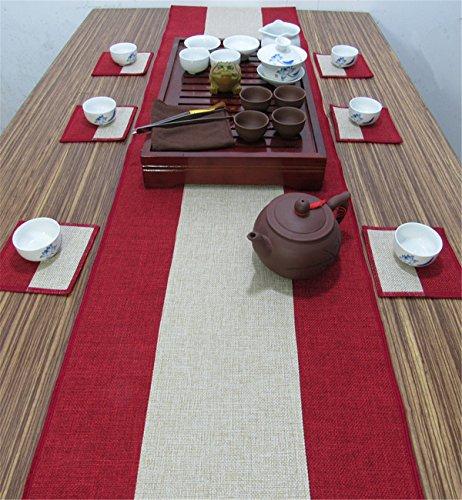 Sucastle® 35x220cm Linge de maison Chemin de Table Cuisine Imperméable Décoration en Aspect naturel