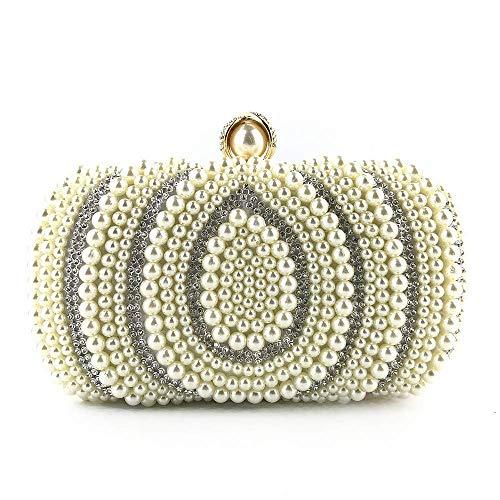 Crystal Abend Clutch Bag (XiaoZou Abend Handtaschen und Damen Clutch Crystal Strass Hochzeit Perlen Clutch Bag Geldbörse Pailletten Perle Perlen Tote (Color : Gold))