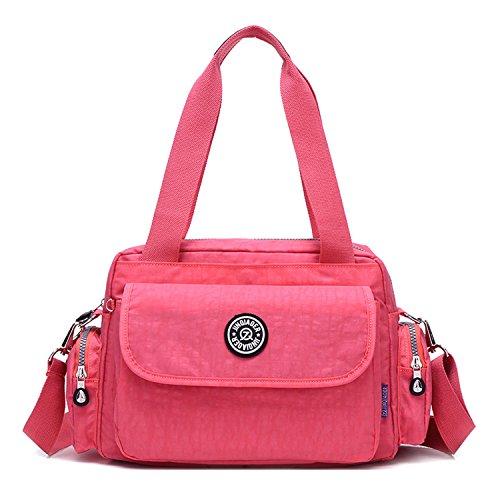 MeCooler Umhängetasche Leichter Kuriertasche Lässige Handtasche Damen Schultertasche Wasserdicht Taschen Messenger Bag Mode Reisetasche Sporttasche für Mädchen Rot 1