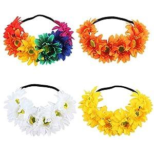 4 Stücke blume stirnband Bunte Künstliche Sonne Blume Stirnband frauen Boho Stirnband Blume Hochzeit Festival Garland Headpiece zubehör für Frau/Mädchen
