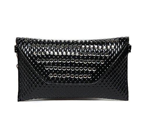 Handbeutel, Damebeutel, Art und Weisediamanthandtasche, koreanische Version der Niethandgelenkbeutel, Art und Weiseabendpaket ( Farbe : Silber ) Schwarz