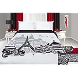 170x210 schwarz weiß Tagesdecke Steppbettüberwurf Paris Pop Art France Frankreich Eiffelturm