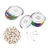 JZK 960 Sortiert Farbig Stecknadel mit Nadelkissen, Needlework Pins für Nähte, Säumen, Schneiderhandwerk, Modeschneiderei