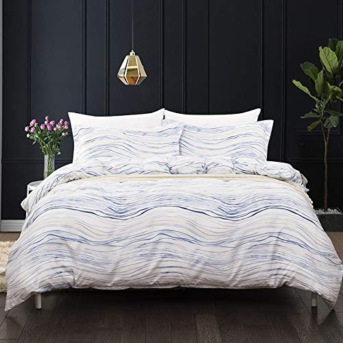 WNJ-bedding Bettdecken-Sets 2019, Einfarbig Gestreift Welle Blau Rosa 3 STÜCKE Bettbezug Kissenbezug Pflegeleicht 200TC Lightb Polyesterfaser Einfache Muster Stilvoll Schrumpft Nicht - Set-blau-gold König Tröster