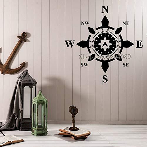 Aufkleber Seite Welt Kompass Navigation Nautical Interior Home Decor Wohnzimmer Einzigartiges Geschenk Kunst Aufkleber gelb 42x42 cm ()