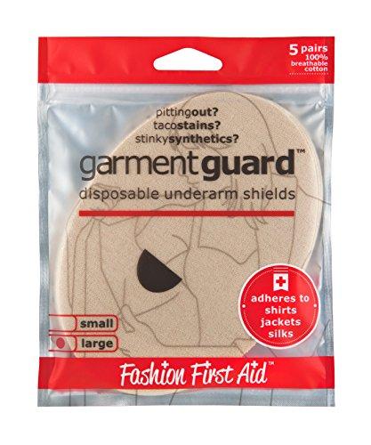 FASHION FIRST AID: Garment Guard™ Schweißpads Achselpads Gegen Schweißflecken und Geruch Hautschonend und Selbstklebend Beige GRANDE (T-shirt Beauty-dunklen)