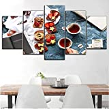 5 pannelli su tela pittura di arte della parete Pane tostato con marmellata di formaggio con tè nero stile dessert o cucina decorativo lavoro moderno poster decorazioni per la casa