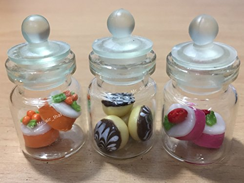 3-Teiliges Miniatur Schokolade Cookie Kuchen Puppenhaus Donut Candy Brot in Klar Glas Mini-Flasche Fruit Food # MF064 Fruit Cookie Jar