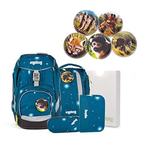 Ergobag pack GALAXY Special Edition - Schulrucksack Set 6 tlg. SternenwanderBär - verschiedene Kletties (Außentaschen Sechs)