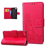 Kompatibel mit Sony Xperia Z5 Compact Hülle,Prägung Klee Blumen Muster PU Lederhülle Flip Hülle Cover Schale Ständer Wallet Case Handyhülle Schutzhülle für Sony Xperia Z5 Compact,Klee Blumen:Rose Red