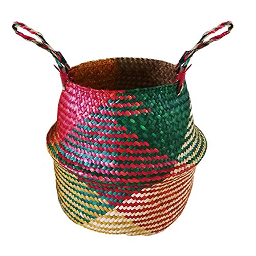 Bauch Korb Panier Hand gewebt Korb mit Griff faltbare Pflanze Blumentopf Spielzeug Wäscherei Lagerung Veranstalter Picknick Strandtasche - groß ()