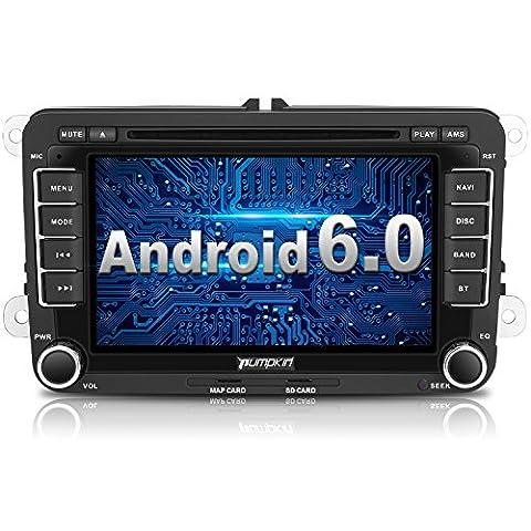 PUMPKIN 2 Din Android Autoradio DVD Player Moniceiver mit GPS Navigation für VW Golf Polo Jetta Passat Unterstützt DAB+ Bluetooth WLAN 3G OBD2 7 Zoll Touchscreen (Android