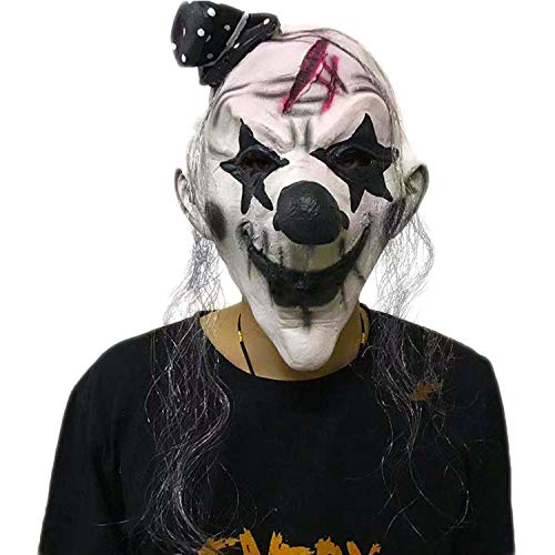 WYJSS Halloween lustige schwarz-weiß Clown Maske Latex Maske Deluxe Neuheit Horror Maskerade Show Dance Party Performance Cosplay Requisiten,White-OneSize