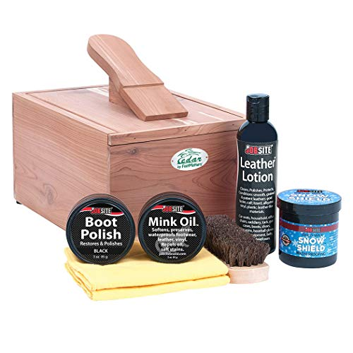 FootMatters Rojo Cedro Boot & Shoe Care Kit Brillo - Cepillo