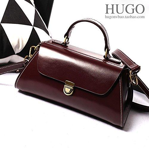 Les femmes en cuir cire diagonale de l'épaule baodan sac Messenger sac d'école sac à main en cuir style rétro,Wine Red Black