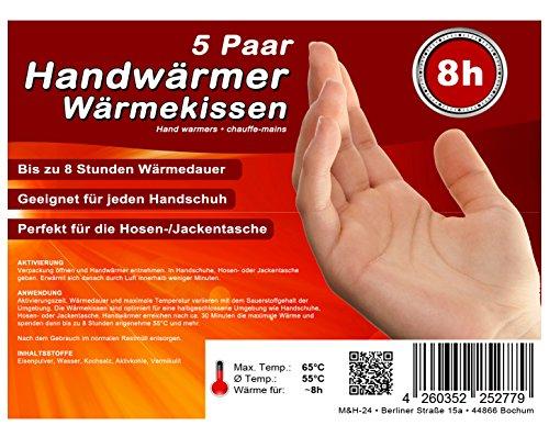 M&H-24 Handwärmer Wärmekissen Taschenwärmer, 8 Stunden warme Finger Hände und Handschuhe Wärme von 55°C, Maße: 5,5cm x 9cm, 5 Paar (Finger Wärmer)