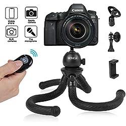 """HOMCA Mini Trépied Flexible Smartphone 12"""" Portable Vis 1/4"""" avec Télécommande Bluetooth Support Gopro, Microphone, Appareil Photo Reflex Télécommande Bluetooth pour Photo et Vidéo Noir"""