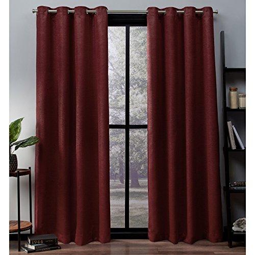 Exclusive Home Curtains Vorhänge aus Satinstoff mit Oxford-Textur, Thermisch, mit Ösenöffnungen Oben, für Fenster, abdunkelnd, Polyester, Chili, 52x108 -