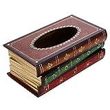 Besteffie Rectangle Boîte à mouchoirs Housse, Livre Ancien Motif Vintage Wood WC Boîte à mouchoirs Support, Grande Faite à la Main, Distributeur de Papier décoratif