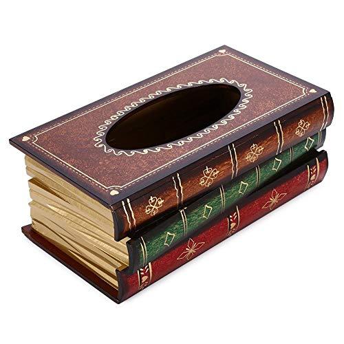 lā Vestmon Holz Tissue Holder, Creative Antique Book rechteckige dekorative Tissue Box Cover für Office - handgefertigte Antique-Look Seidenpapier Halter für Auto, Haus Dekoration