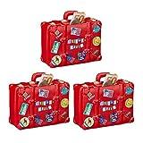 3 x Spardose Urlaub, Koffer, mit Stickern, Urlaubskasse, Reisekasse, XXL, Sparbüchse, HxBxT: 14 x 15 x 7 cm, rot