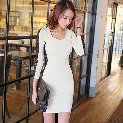 Bodycon Spritech (TM) Sexy da donna, a manica lunga, Slim-Midi Dress Costume, crema, L