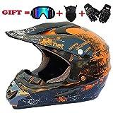 Sunshine Motocross-Motorradhelm für Erwachsene und Cross Country MX-Offroad-Motorradsaison für Herren und Frauen (Handschuhe, Brille, Maske, 4er-Set),Orange,XL