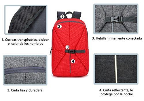 facecozy Outdoor Herren & Damen Wandern Nylon Rucksack Unisex Leicht Multifunktionsrucksack bequem Sports Convertible Tasche Rot