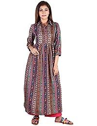 Teej Ladies New Multi-Coloure Crepe Floral Paisley Printed Flare Anarkali Maxi Floor Length Designer Partywear...