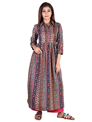Teej Ladies New Multi-Coloure Crepe Floral Paisley Printed Flare Anarkali Maxi Floor Length Designer Partywear Kurta  available at amazon for Rs.649