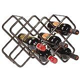 mDesign Scaffale per bottiglie di vino - Bellissimo portabottiglie in metallo per otto bottiglie distribuite su tre livelli - Organizer in metallo da appoggio per bottiglie di vino e altro - bronzo