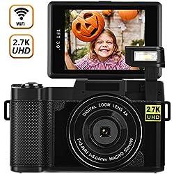 Appareil Photo Numérique Camescope WiFi Blogging 2.7K Ultra HD 24MP Caméscopes Appareil Photo avec Flash Rétractable et Objectif UV