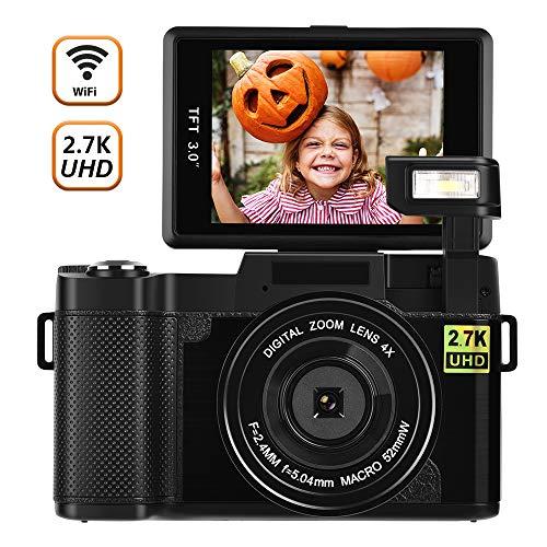 Cámara Digital Camara de Fotos WiFi Camara Fotos 2.7K Ultra HD 24MP Camara Compacta Cámara Vlogging con Luz de Flash Retráctil y Lente UV
