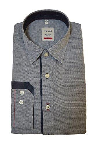 Haupt Herren Modern Fit Baumwoll-Hemd (X-Large, Schwarz)