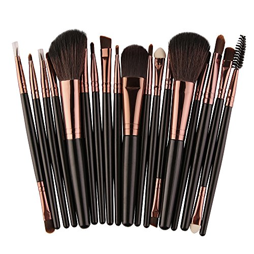 Pinceaux Maquillages Professionnel Kit de 18pcs, Poils Synthetiques, Design Or Rose, Makeup Brushes Doux Pinceaux Maquillages Teint et Yeux (Noir)