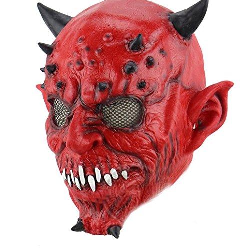 Night Terror Kostüm - HAOBAO Männer Halloween Maske Hells Night Forks Hörner Red Head Sets Terror Ghosts Jacken Masken