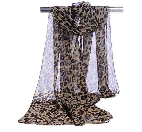 Lubier Elegant Weich Chiffon dünn Lady Schal Voile Leopard Muster Schal Damen Lang Schal Wrap Größe (160x 50cm (1Stück))