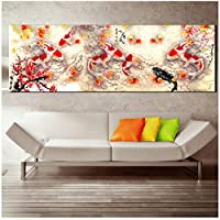 MULMF Wall Art Photo Hd Print Chinese Abstract Nine Koi Fish Landscape Painting On Canvas Poster for Modern Living Room Decor- 40X120Cm No Frame