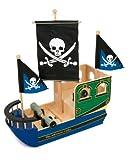 Nave Pirati  1163 Small Foot, Grande Nave Pirata in Legno con cannoni funzionanti e Spazio di stoccaggio Segreto per i tesori