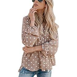 Womens Button Up Top 50 Lunares Camisas Flojo Cardigan Khaki M