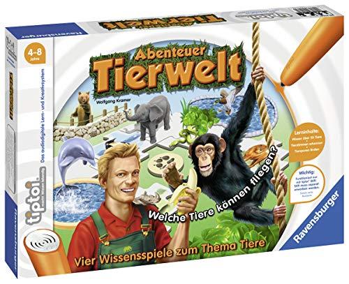 Ravensburger tiptoi Abenteuer Tierwelt Spiel, ab 4 Jahren, Tiere und ihre Eigenschaften kennenlernen, Tierlaute zuordnen, Tierspuren lesen