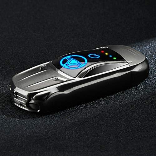 GuDoQi Elektronisches Feuerzeug USB Aufladbar, Outdoor Dual Arc Elektro Metal Lighter ohne Flame, Winddicht, Fingerabdruck zum Zünden, Mini-Sportwagenform, für Küche Grill Kerzen Zigaretten (Schwarz)