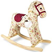 Leomark Beautiful Rocking Wooden Horse Florence for Kids Todlers Plus a Free Cuddly Teddy Bear Toy