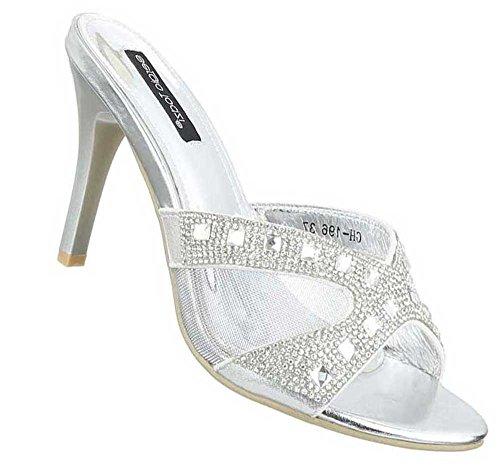 Damen Sandalen Schuhe Sandaletten Pantoletten Schwarz Silber